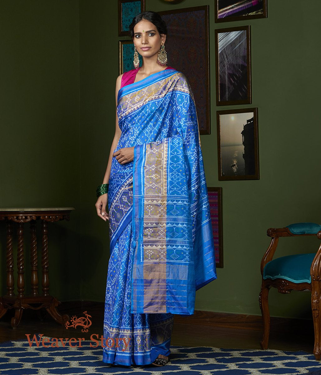 Handwoven Blue Single Ikat Gujarat Patola Saree