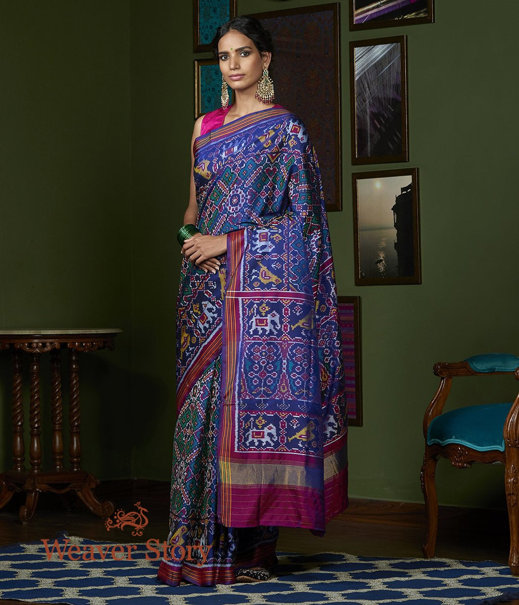 Handwoven Blue and Teal Dual Tone Gujarat Patola Saree with Purple Border