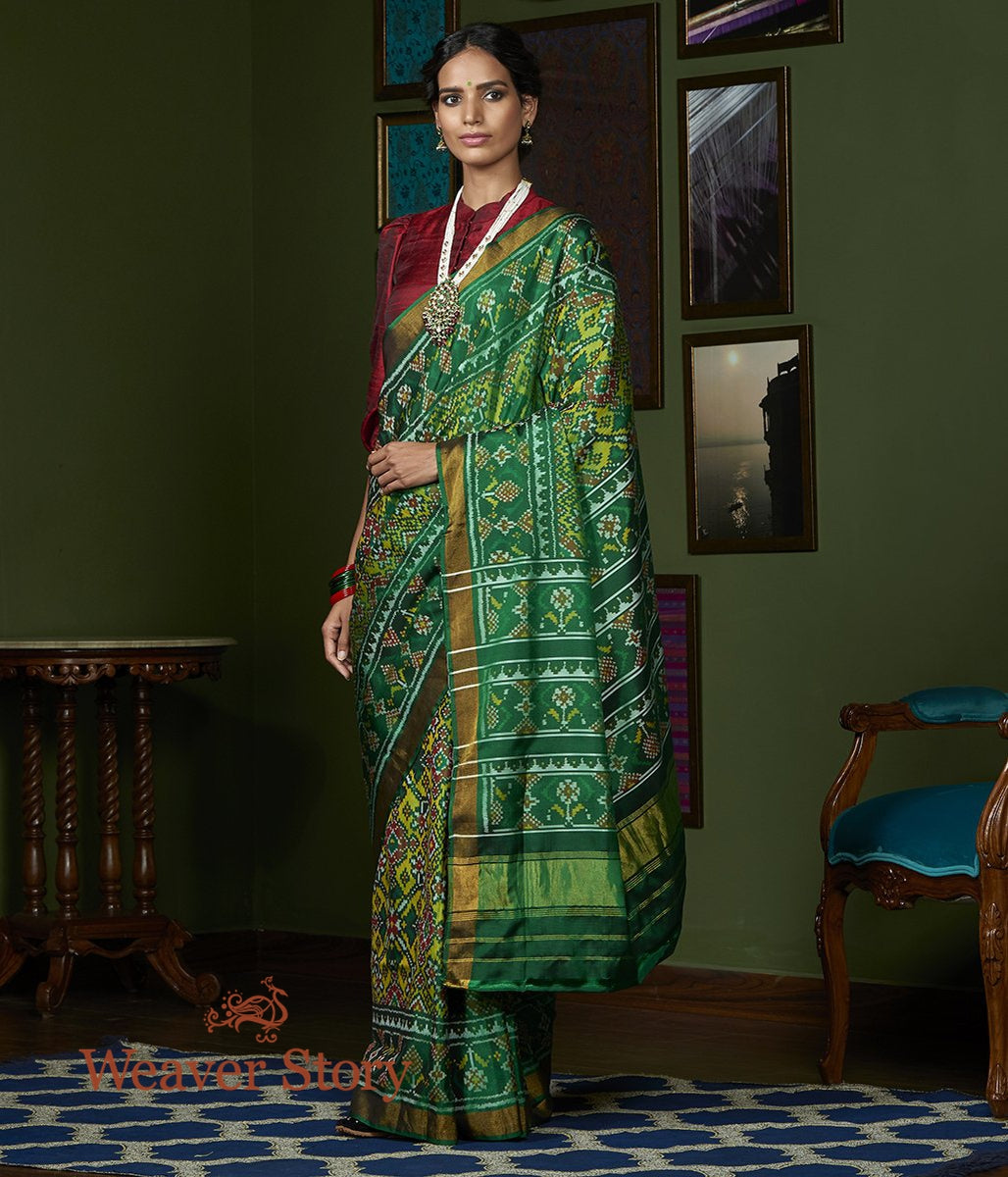 Handwoven Green and Mustard Dual Tone Gujarat Patola Saree