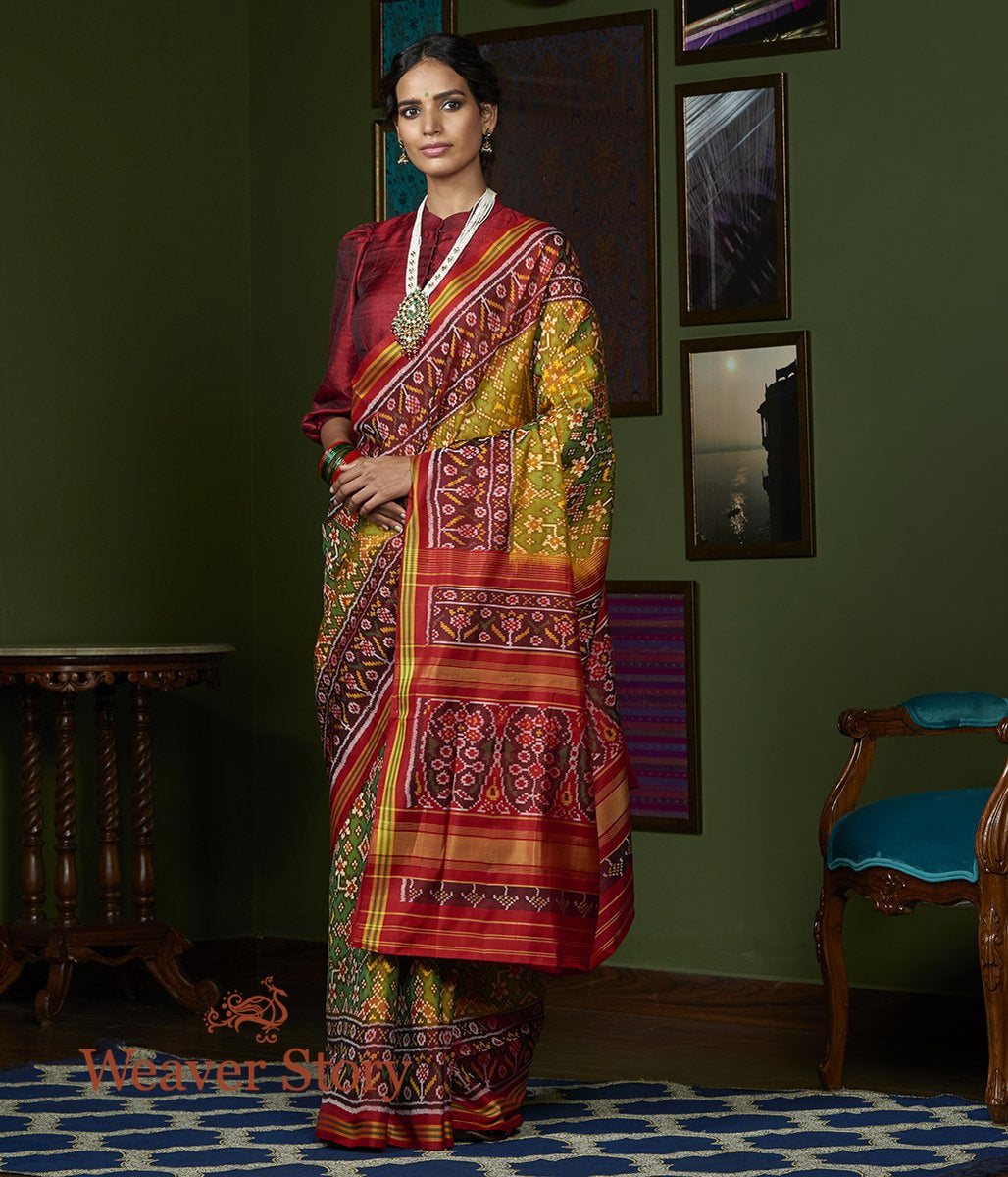 Handwoven Green and Yellow Dual Tone Gujarat Patola Saree with Maroon Border