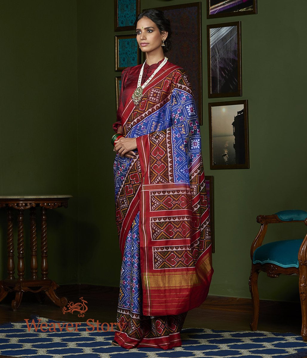 Handwoven Blue Gujarat Patola Saree with Maroon Border