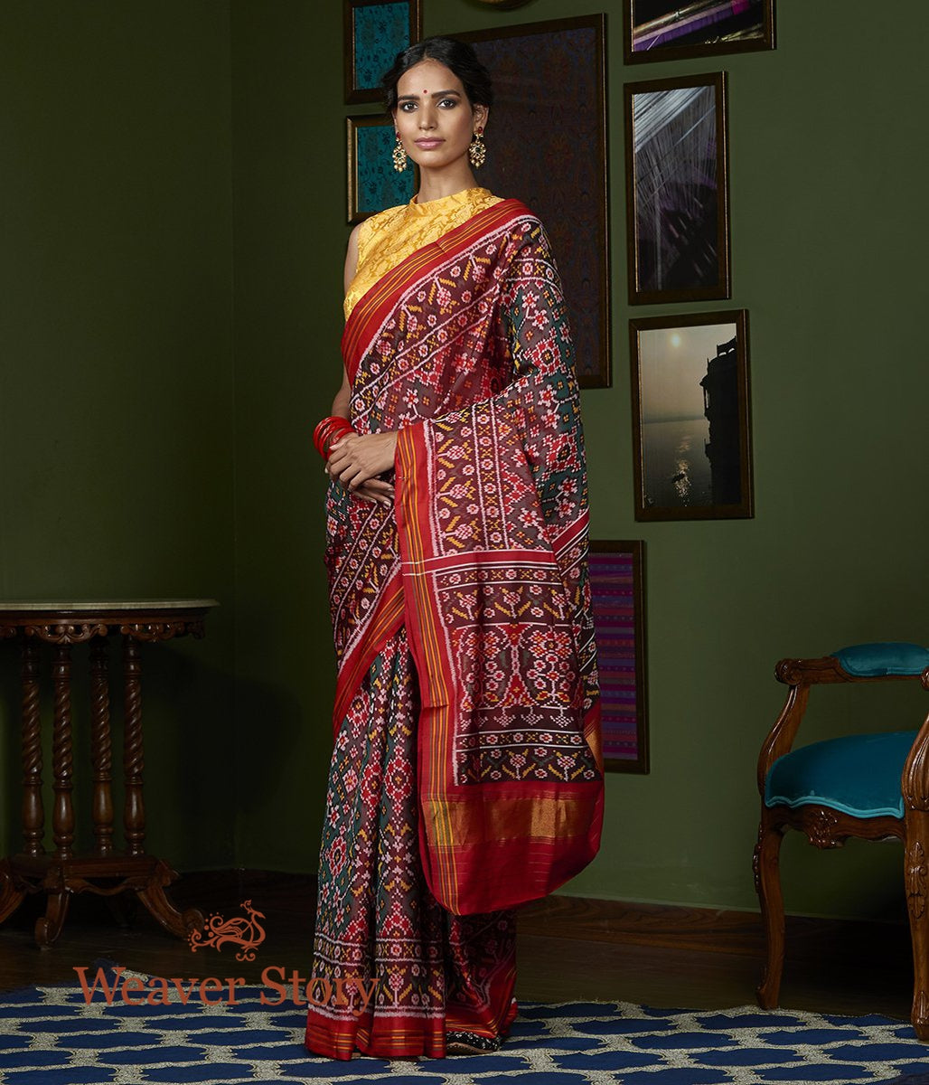 Handwoven Green and Red Dual Tone Gujarat Patola Saree with Red Border