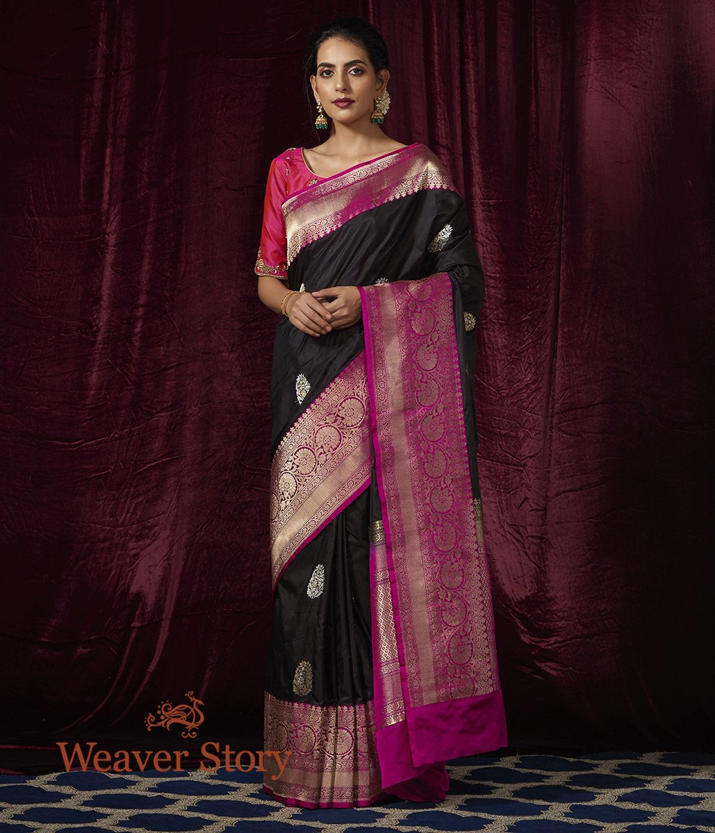 Handwoven Black Katan Silk Saree with Contrast Pink Border and Kadhwa Booti