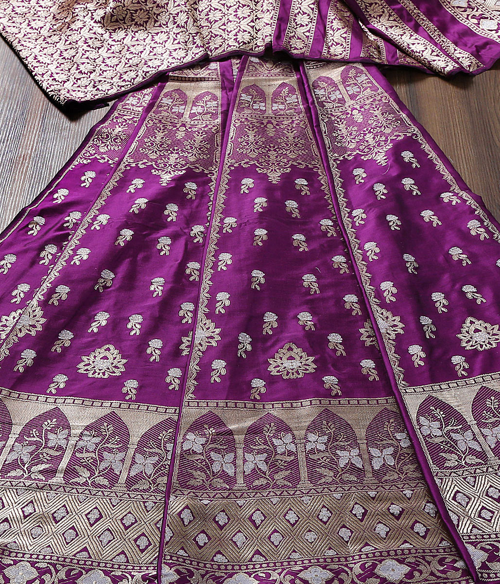 Handwoven Banarasi Katan Silk Lehenga in Wine Color