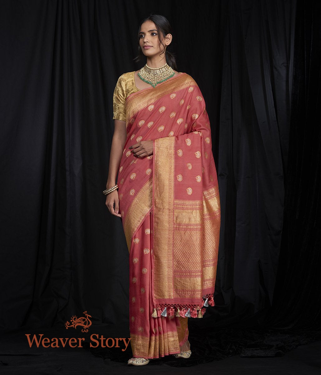 Handwoven Peach Munga Silk Saree with Kadhwa Booti