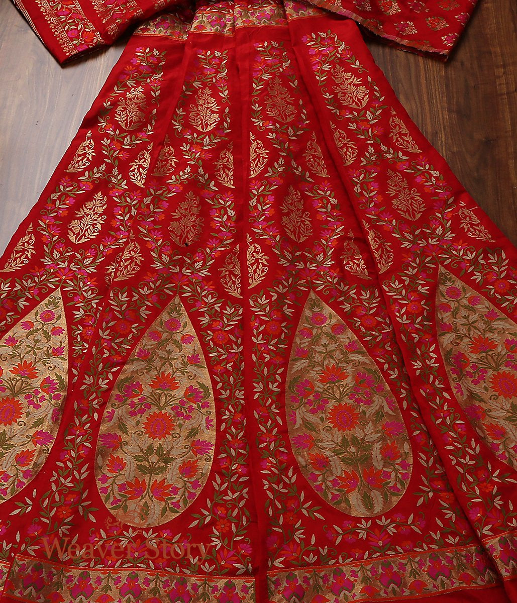 Handwoven Banarasi Red with Meenakari Silk