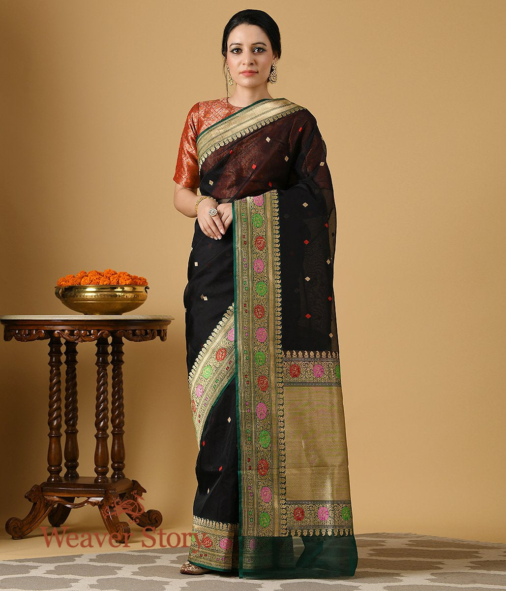 Handwoven Black and Green Meenakari Border Organza Saree