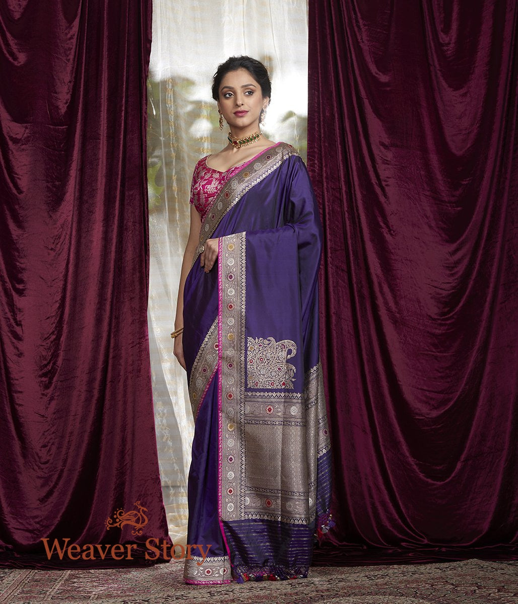 Handwoven Purple Katan Silk Saree with Konia