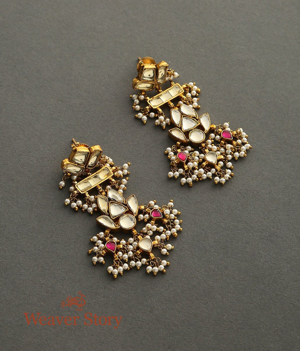 Golden Kundan Earrings with Pearl and Ruby Red Stones