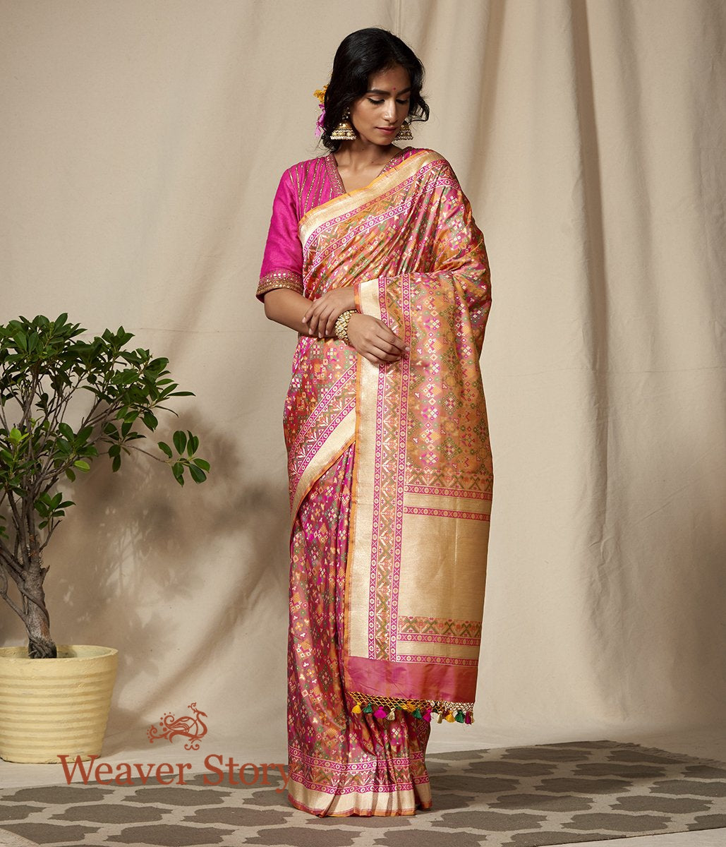 Handwoven Peach and Pink Banarasi Patola Saree with Meenakari