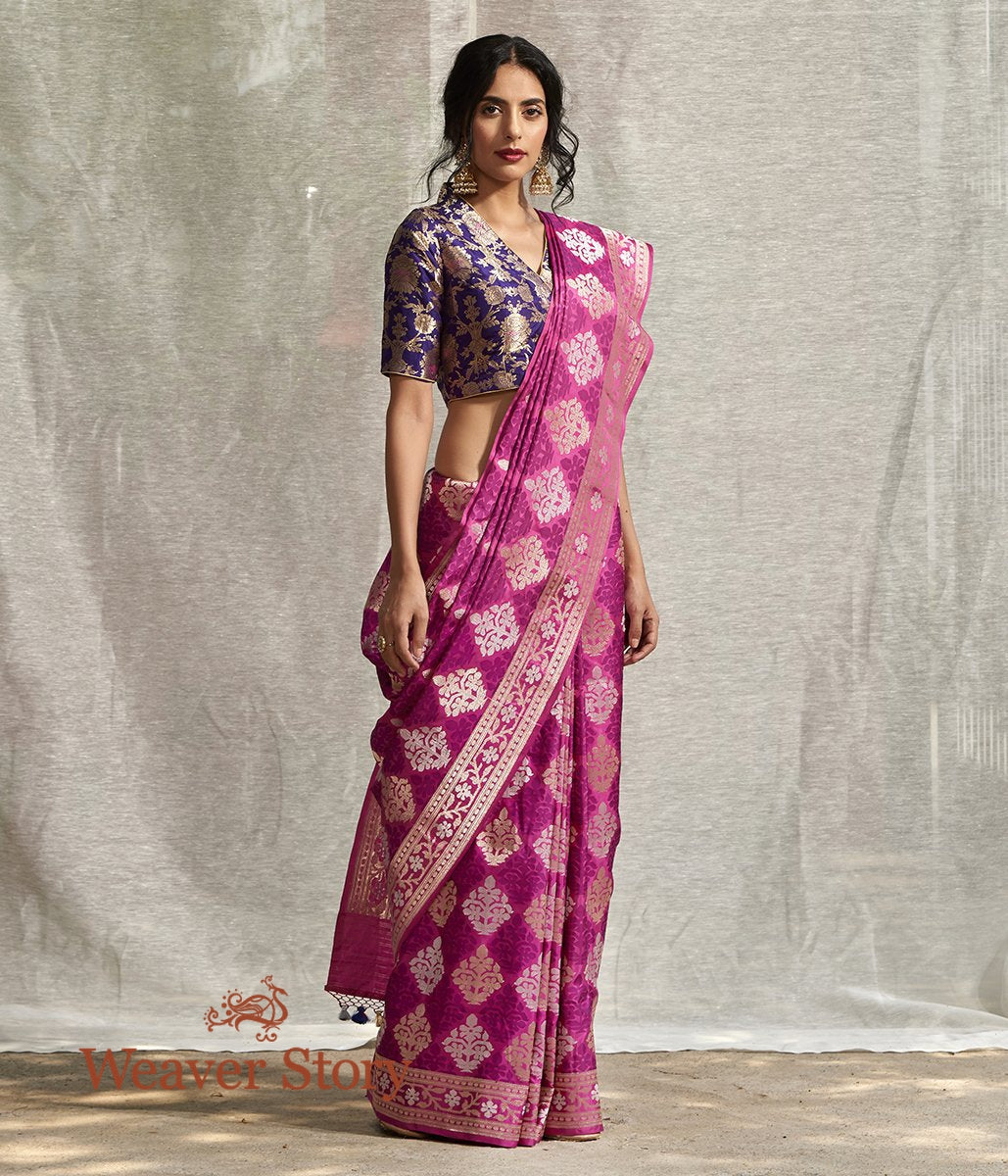 Handwoven Onion Pink Kadhwa Booti Saree with Gold and Silver Zari Booti