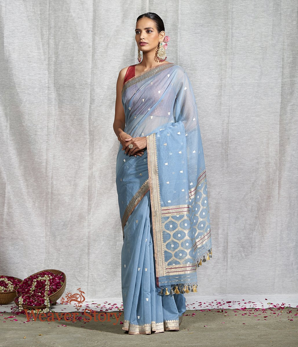 Handwoven Blue Kora Cotton Saree with Kadhwa Booti