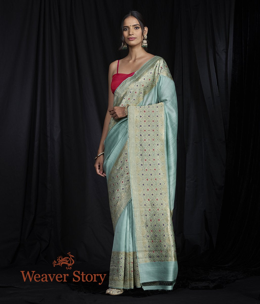 Handwoven Munga Broad Border Saree
