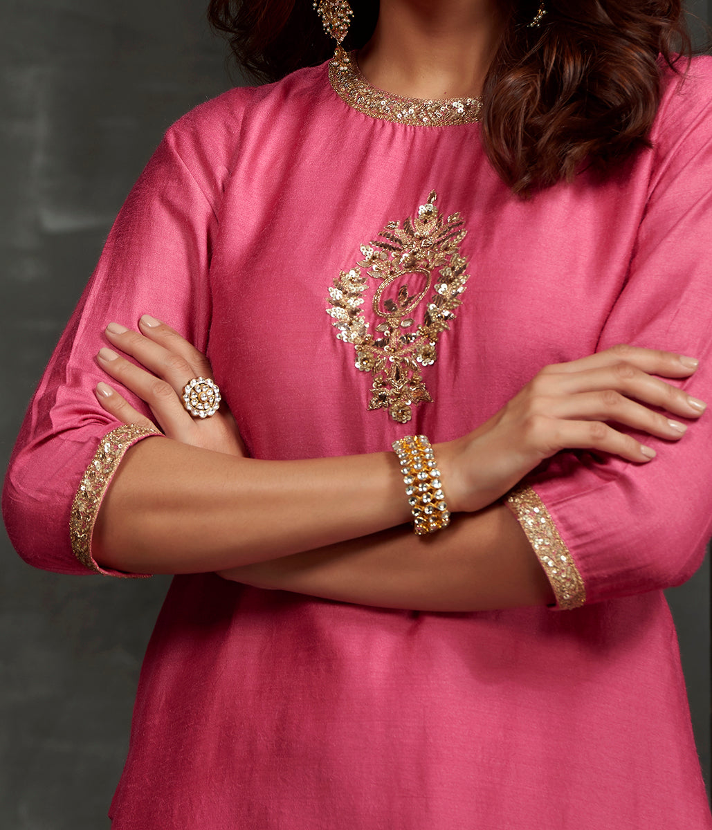Hand embroidered munga silk kurta with zardozi detailing on the front and neck and sleeves