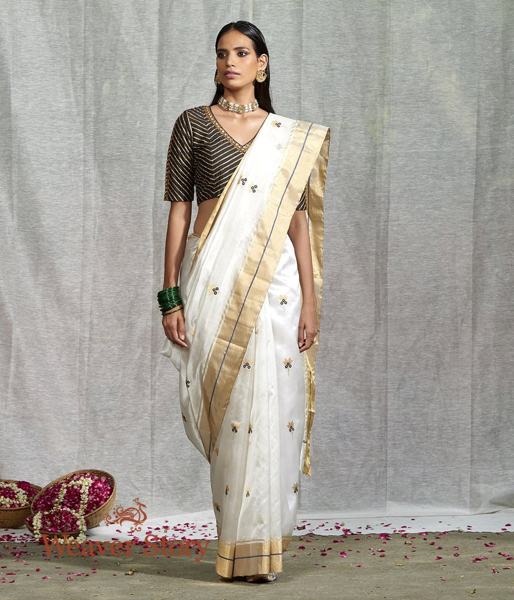 Handwoven White Silk Chanderi Saree with Floral Booti and Blue Meenakari