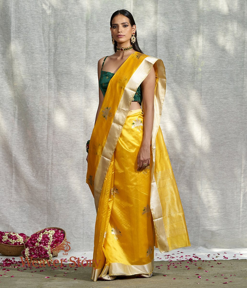 Handwoven Yellow Silk Chanderi Saree with Birds