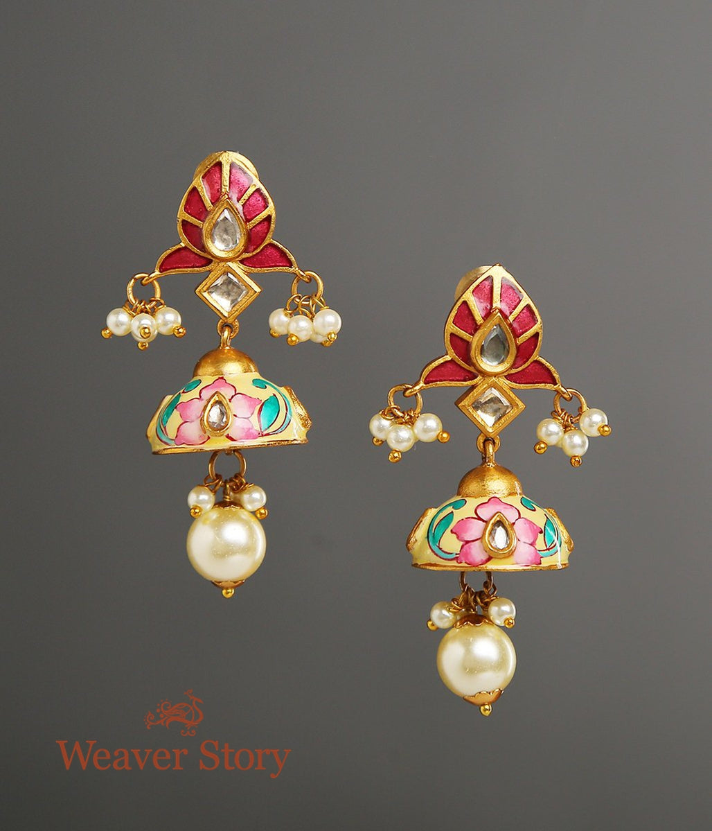 Enamelled Jhumkas with Floral Studd