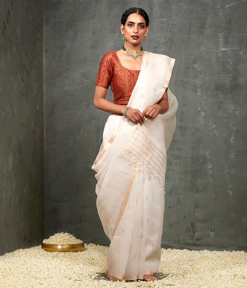 Handwoven Matka Silk Saree with a Muslin Pallu with The Tree of Life Woven in Jute