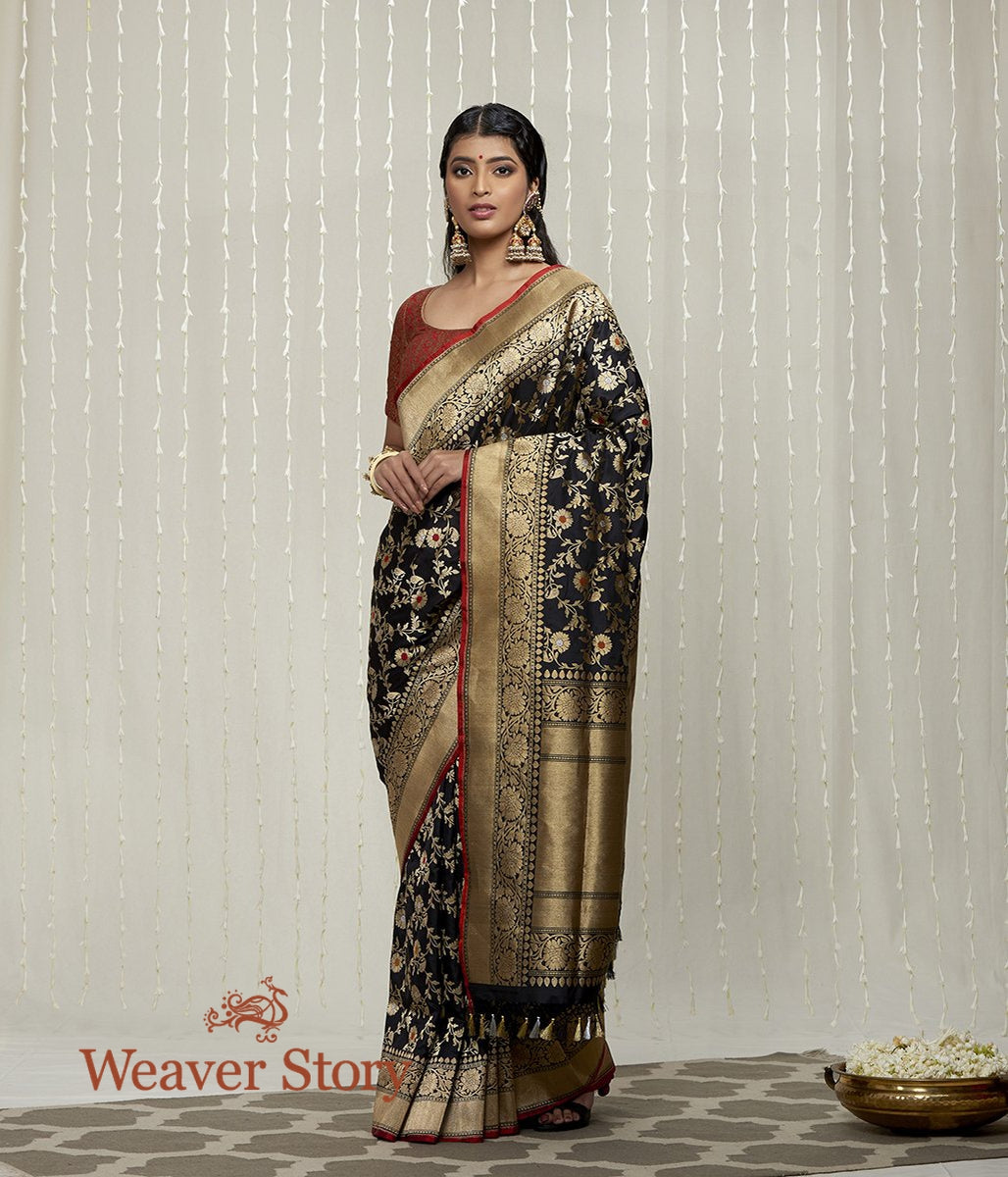 Handwoven Black Sona Rupa Kadhwa Jangla Saree with Meenakari
