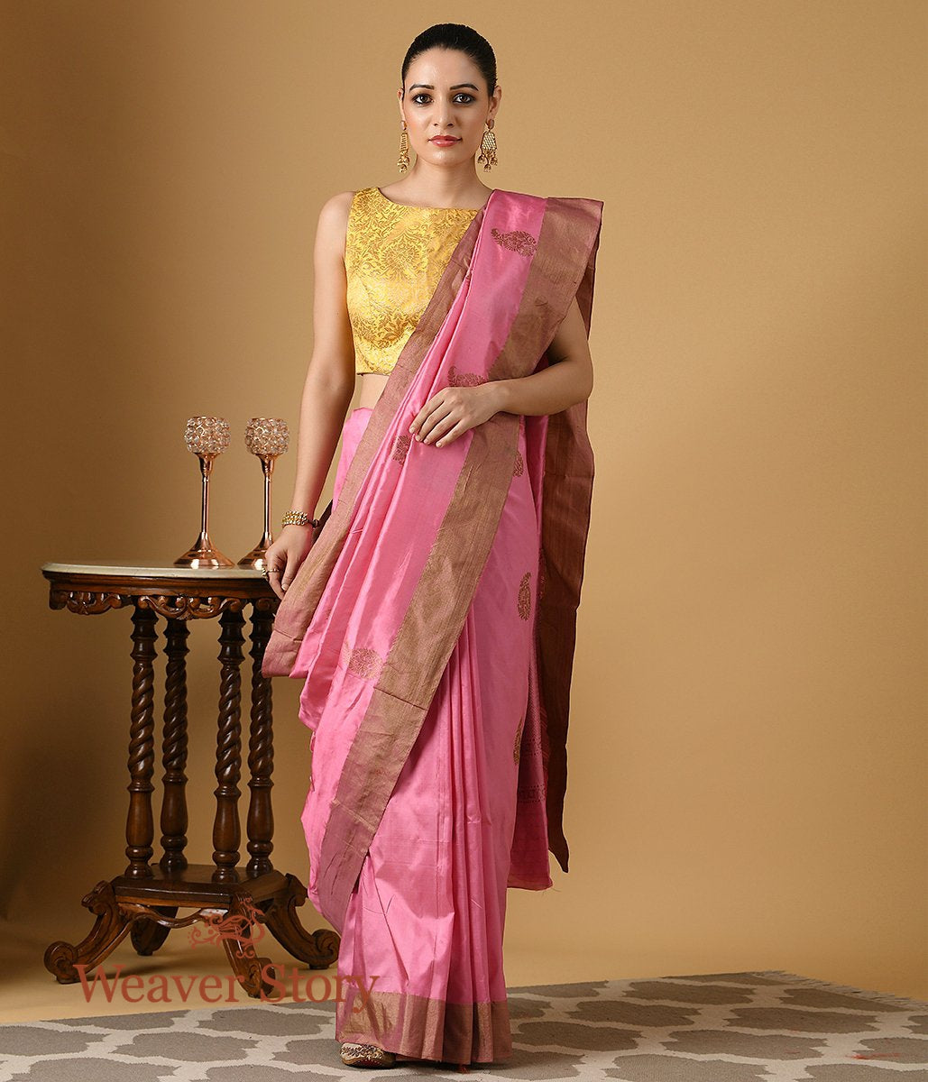 Handwoven Light Pink Katan Silk Saree with Antique Zari Boota