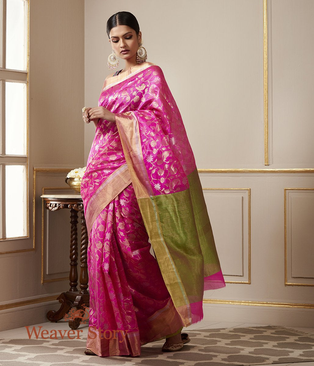 Handwoven Pink Chanderi Silk Saree with Birds Woven in Zari