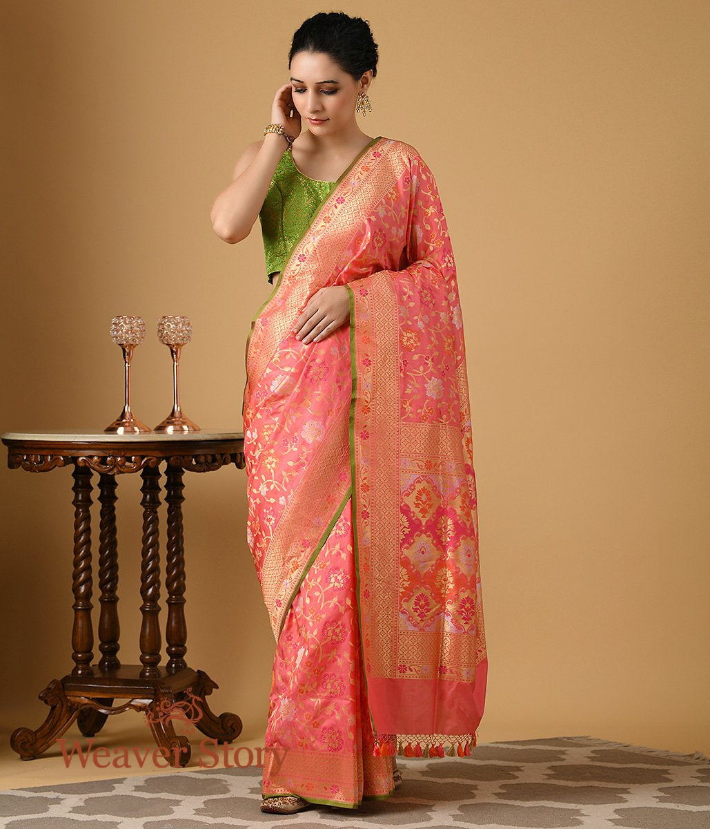 Handwoven Pink Multicolor Cutwork Patola Saree