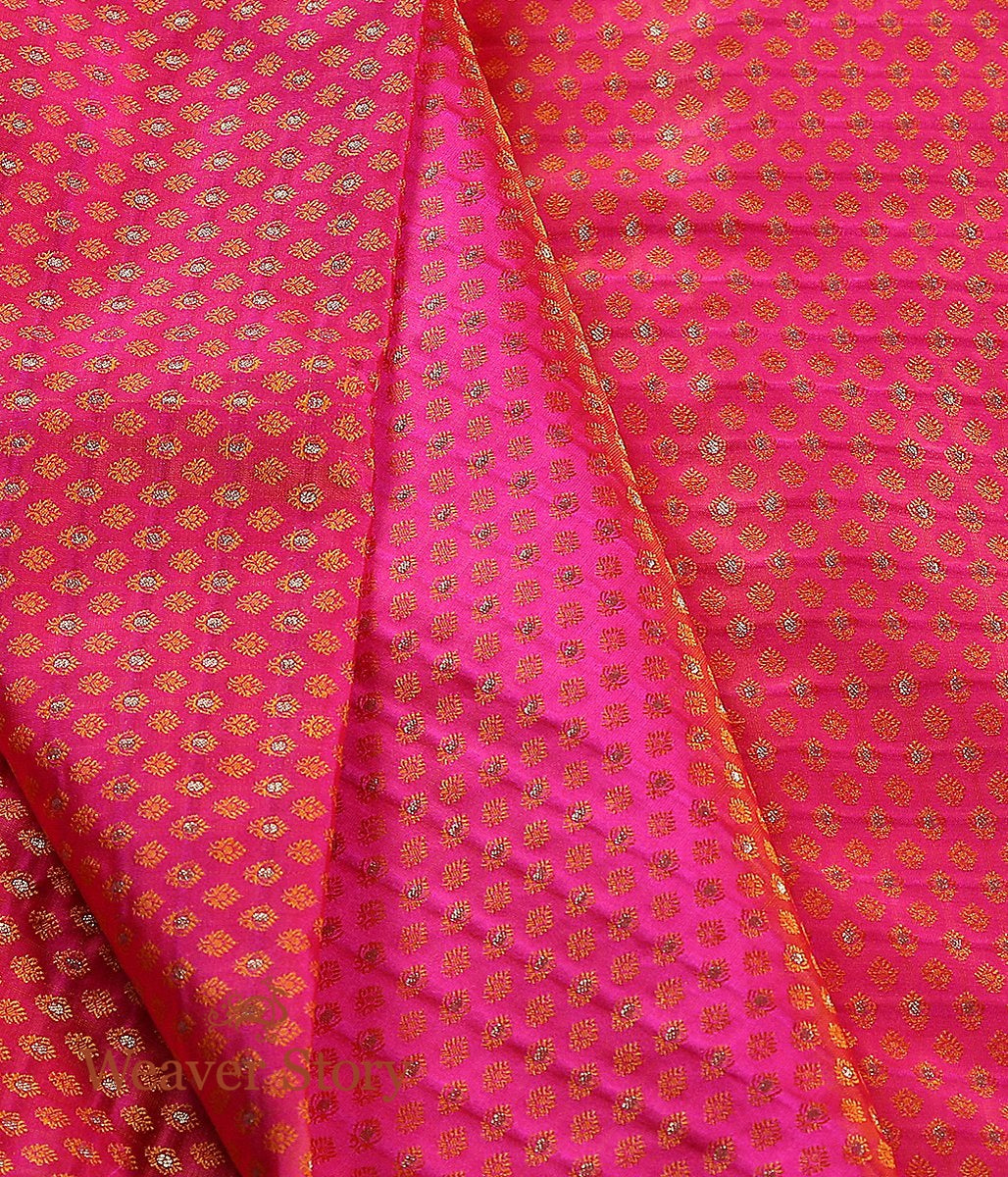 Handwoven Pink and Orange Dual Tone Tanchoi Fabric