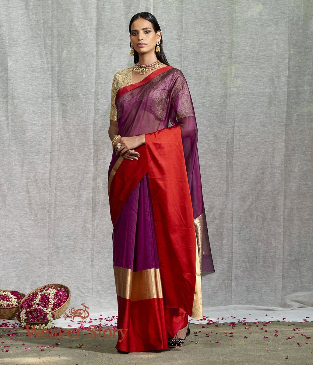 Handwoven Purple Plain Saree with Red Mushroo Border