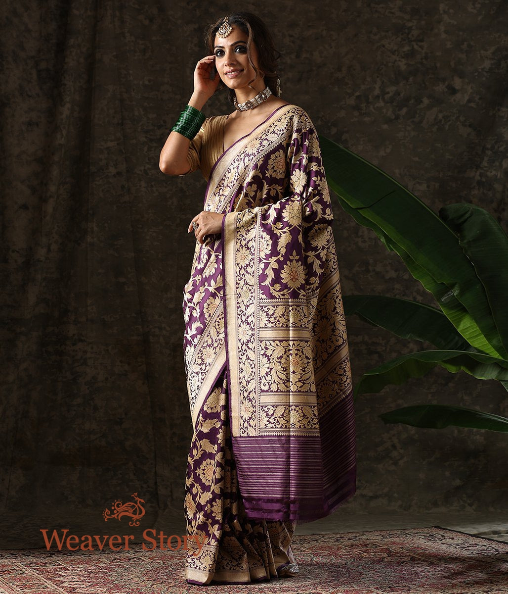 Handwoven Purple Cutwork Jangla Saree