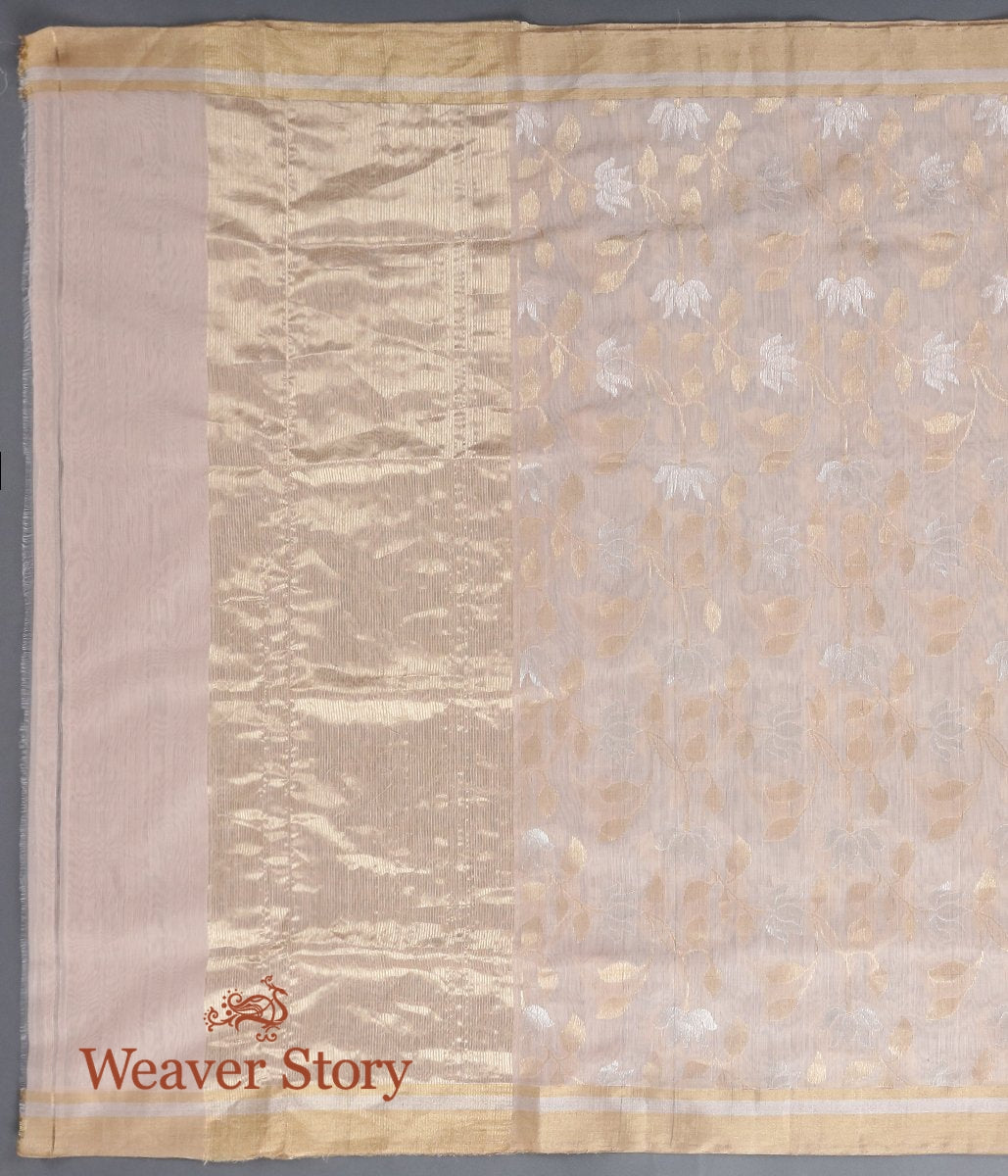Handwoven Peach Chanderi Cotton Silk Jaal Dupatta