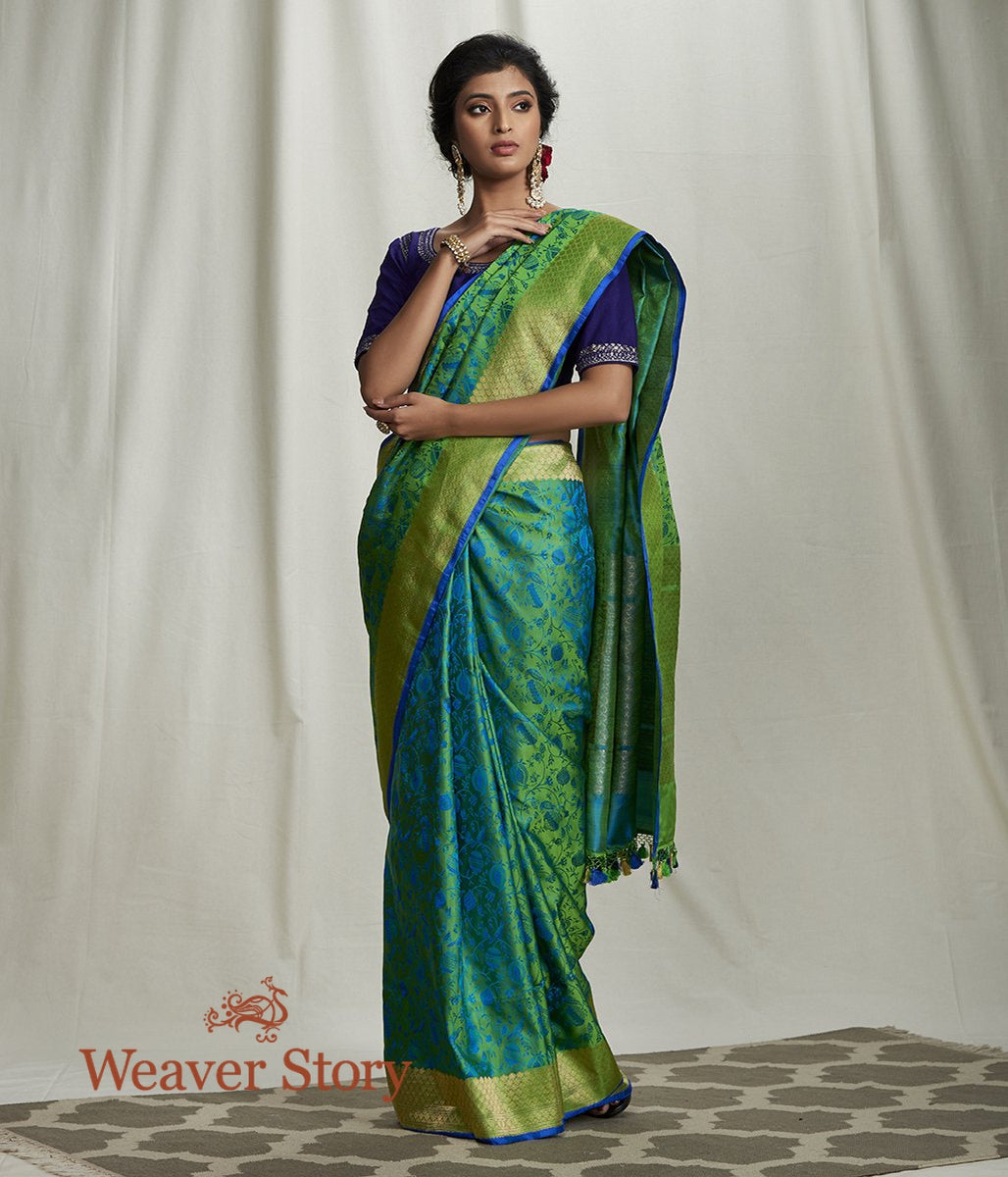 Handwoven Green and Blue Satin Reshmi Jamawar Saree