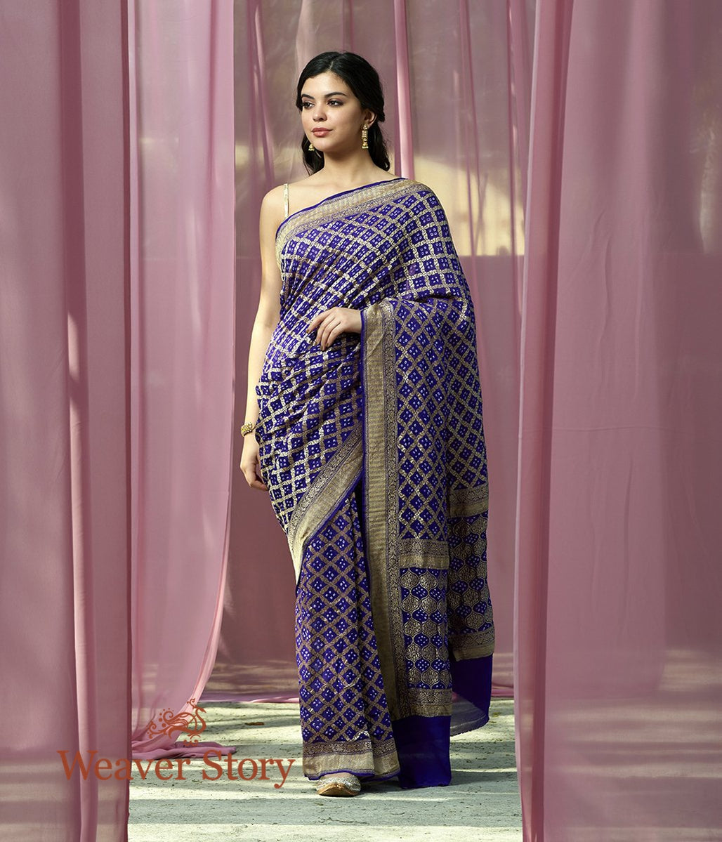 Handwoven Deep Purple Banarasi Bandhej Saree