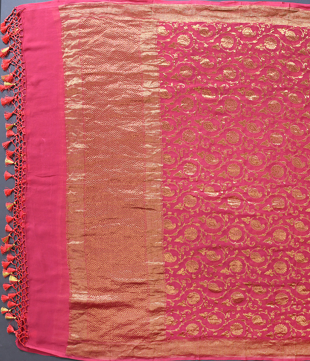 Handwoven Carrot Color Jangla Dupatta