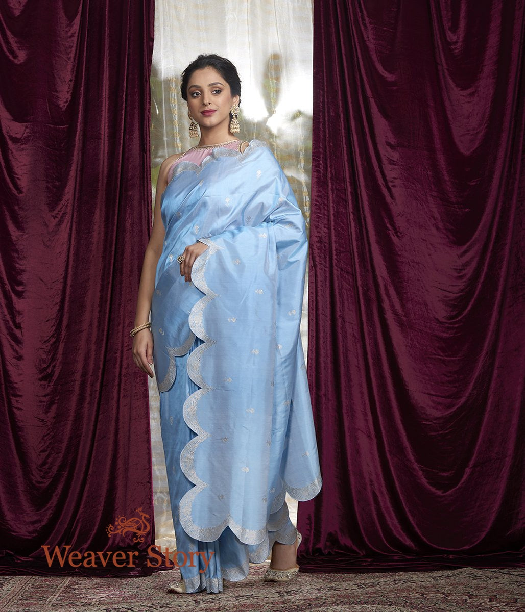 Handwoven Light Blue Silver Zari Saree with Scalloped Borders