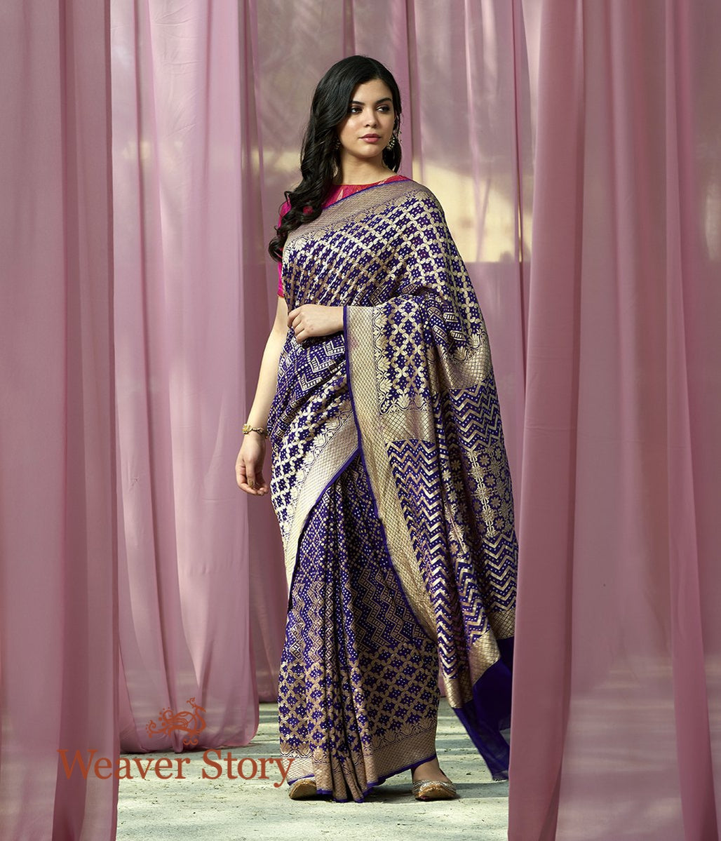 Handwoven Purple Banarasi Bandhej Saree