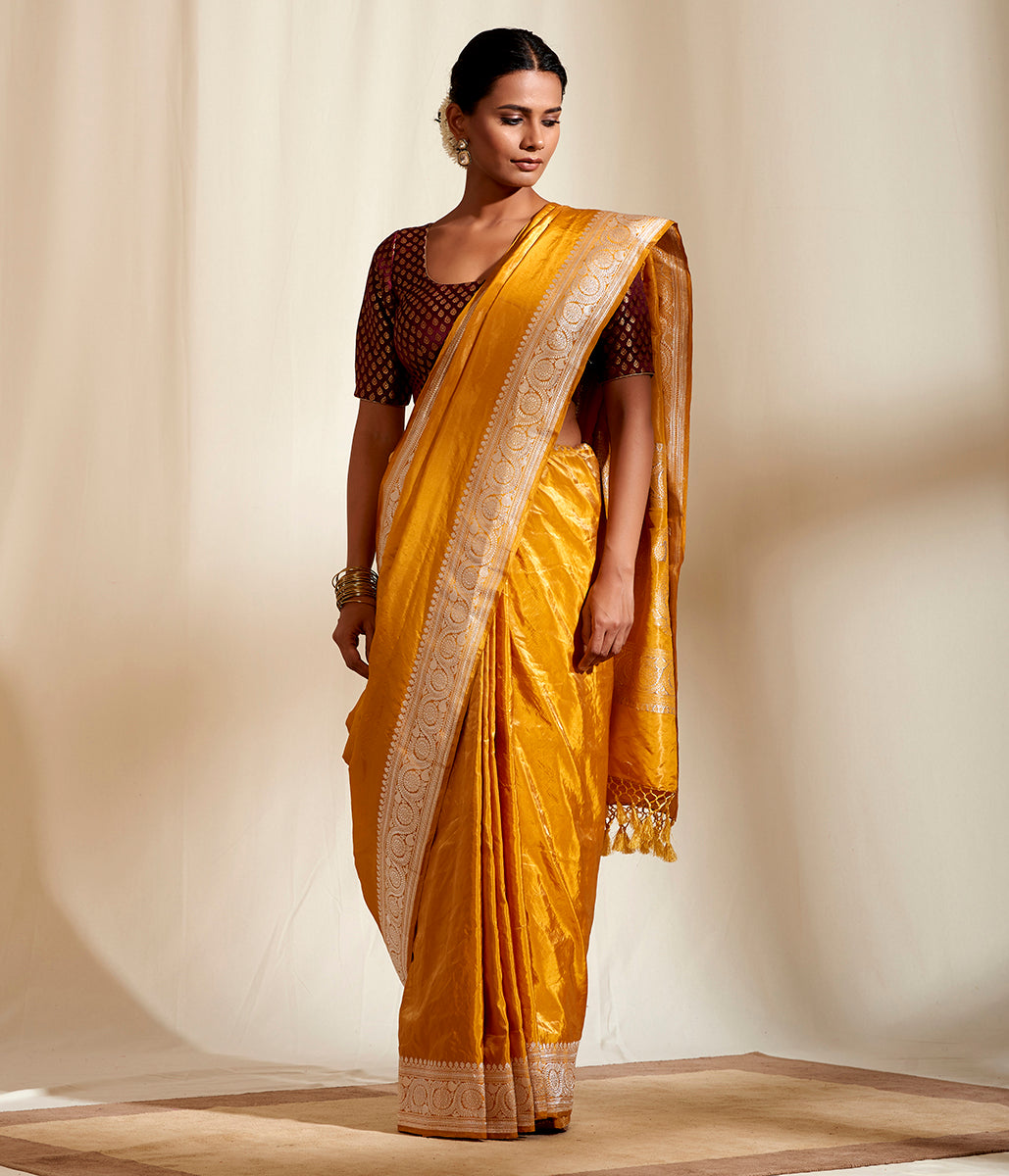 Mustard Plain Tissue Saree