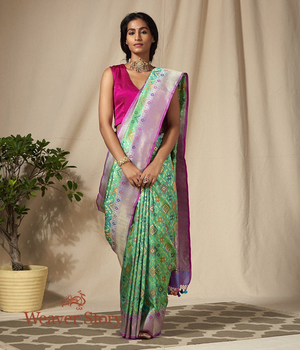 Handwoven Green and Purple Banarasi Patola Saree