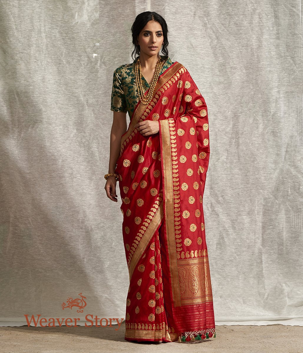 Handwoven Red Kadhwa Booti Banarasi Saree with Green Meenakari