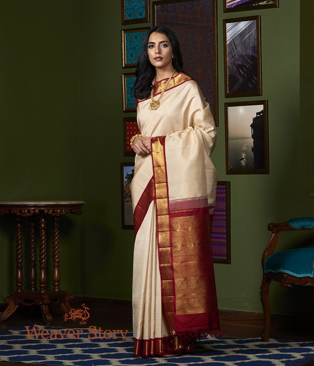 Handwoven Offwhite Kanjivaram Silk Saree with Red Border