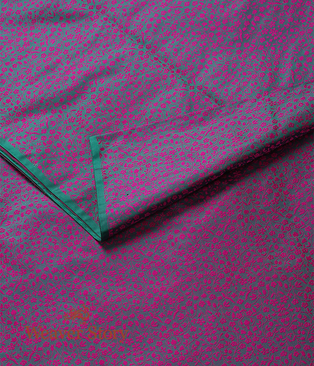 Handwoven Green and Pink Self Tanchoi Fabric