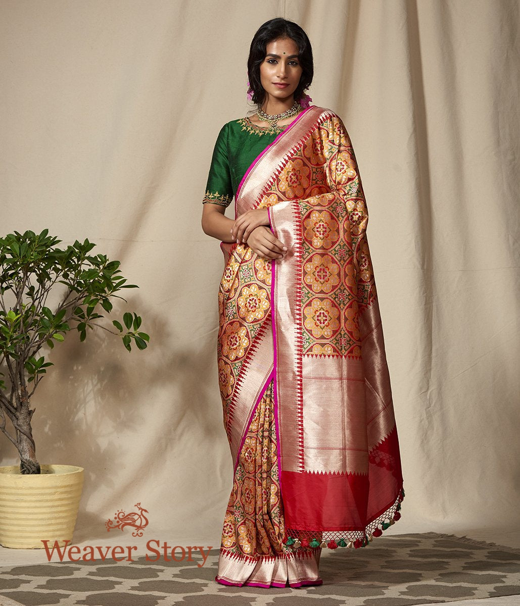 Handwoven Orange and Green Meenakari Banarasi Patola Saree