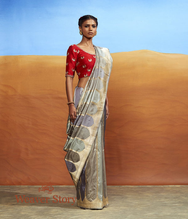 Handwoven Beige and Grey Rangkaat Saree with Stripes
