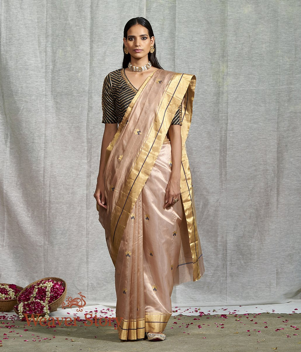 Handwoven Light Brown Silk Chanderi Saree with Floral Booti and Blue Meenakari