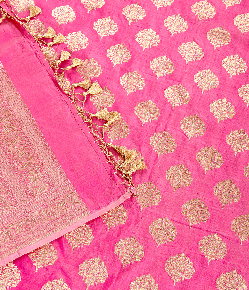 Handwoven Baby Pink Silk Dupatta with Leaf Motif and Floral Border