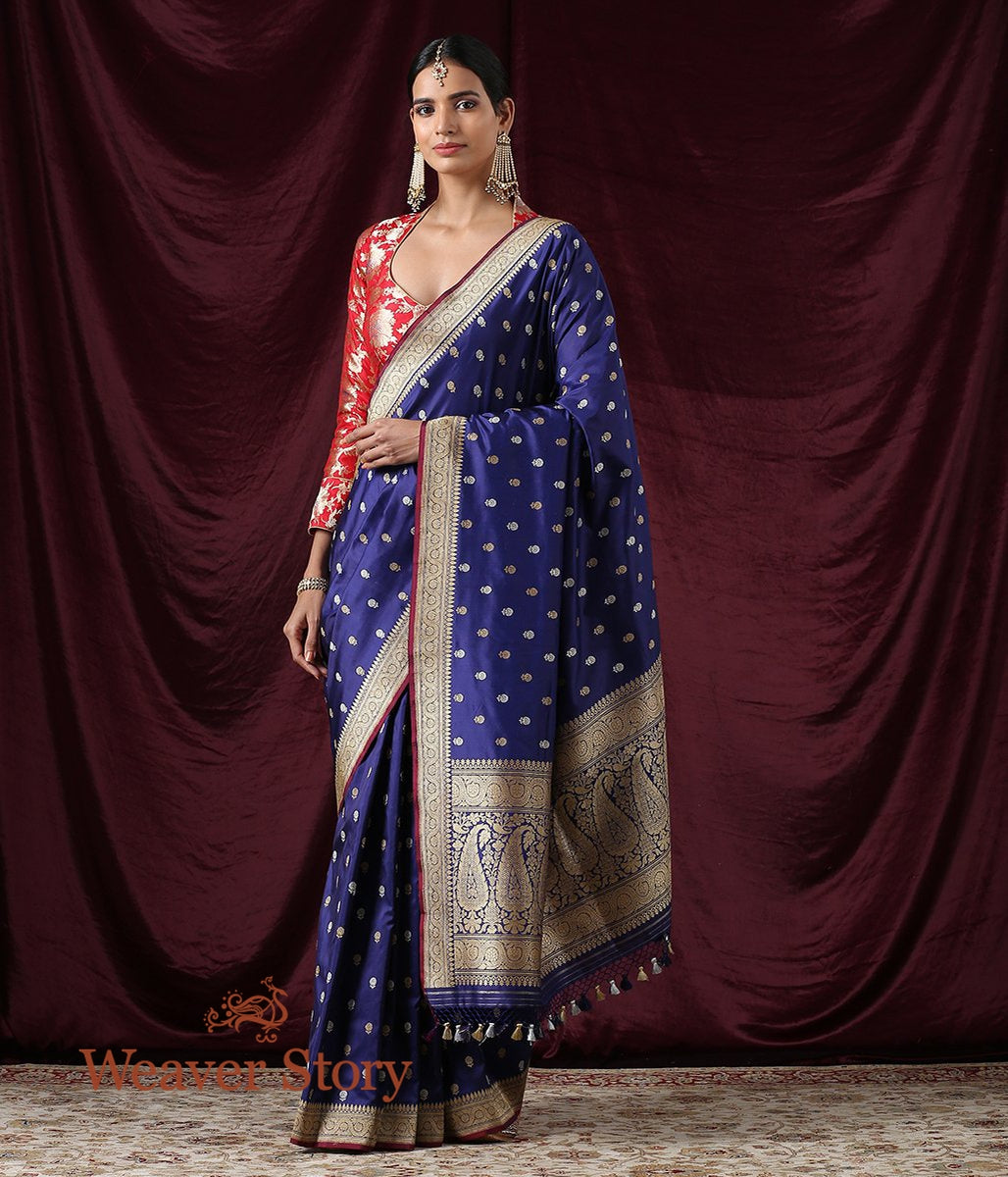 Handwoven Blue Kadhwa Booti Saree with Floral Border