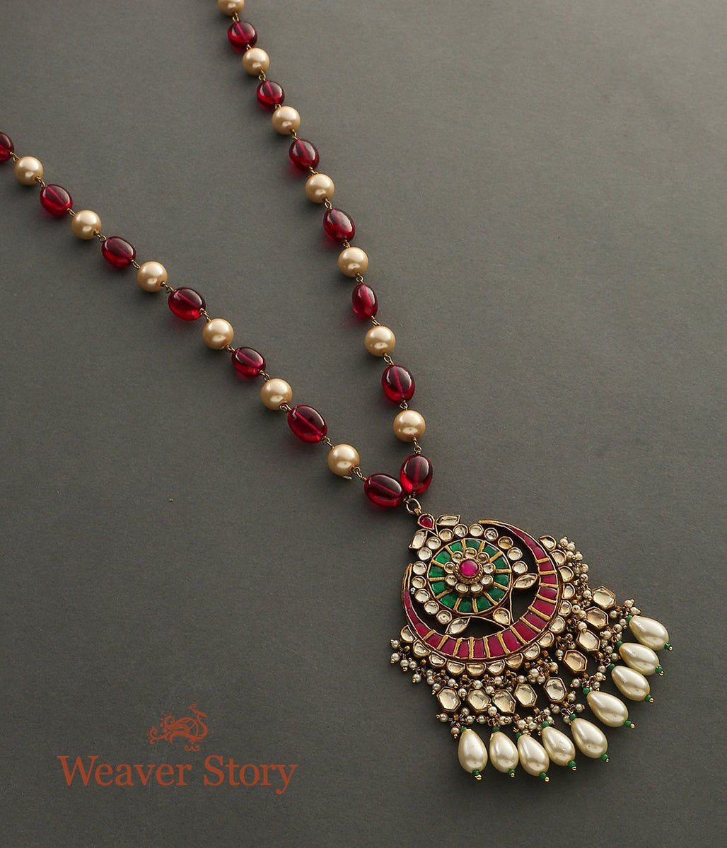 Ruby and Pearl String Necklace with Kundan Pendant