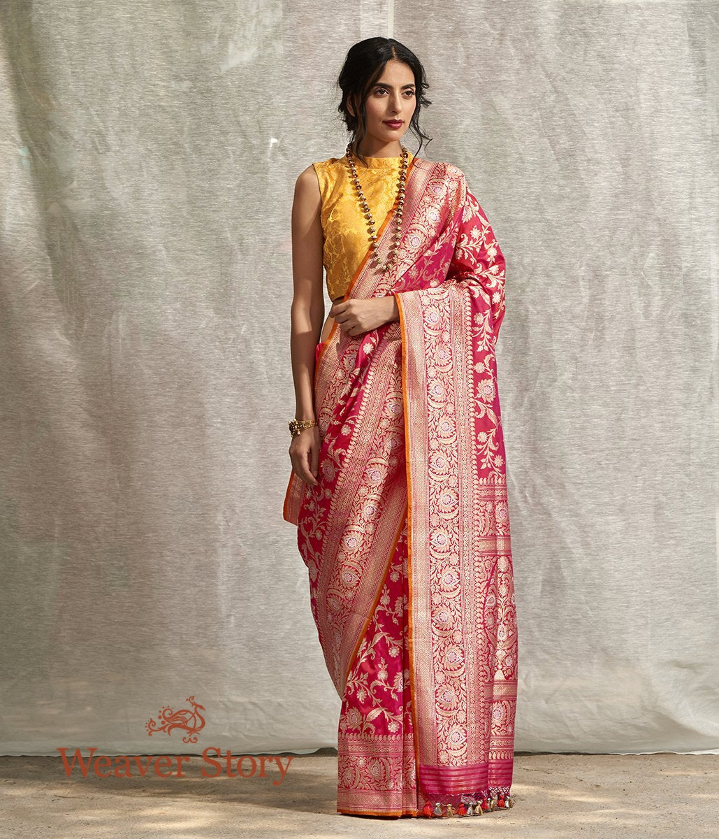 Handwoven Strawberry Pink Kadhwa Jangla Saree