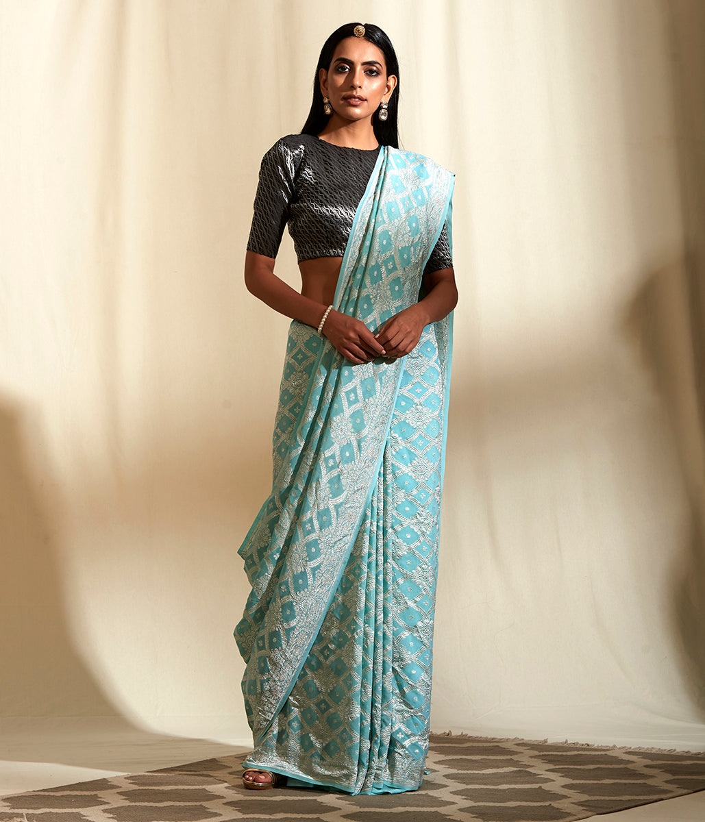 Handwoven Powder Blue Banarasi Jaal with Silver Zari