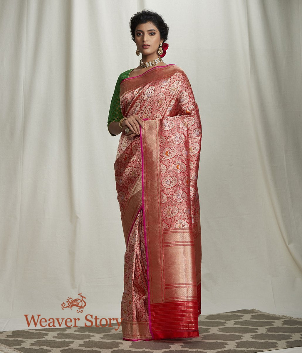 Handwoven Red Kimkhab Banarasi Saree with Paisleys