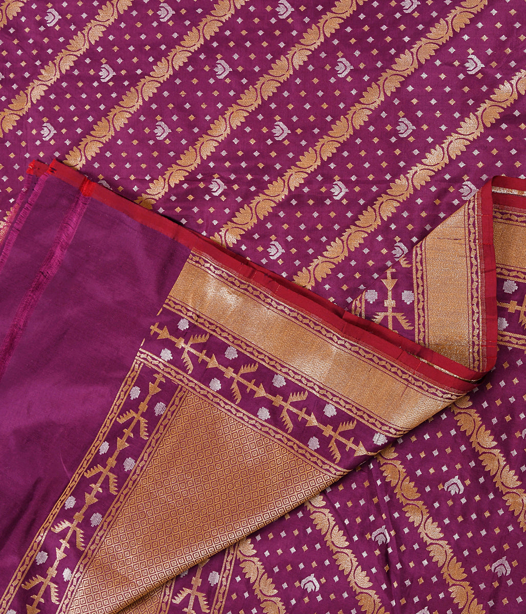 Handwoven Purple Katan Silk Dupatta with Jamdani Weave